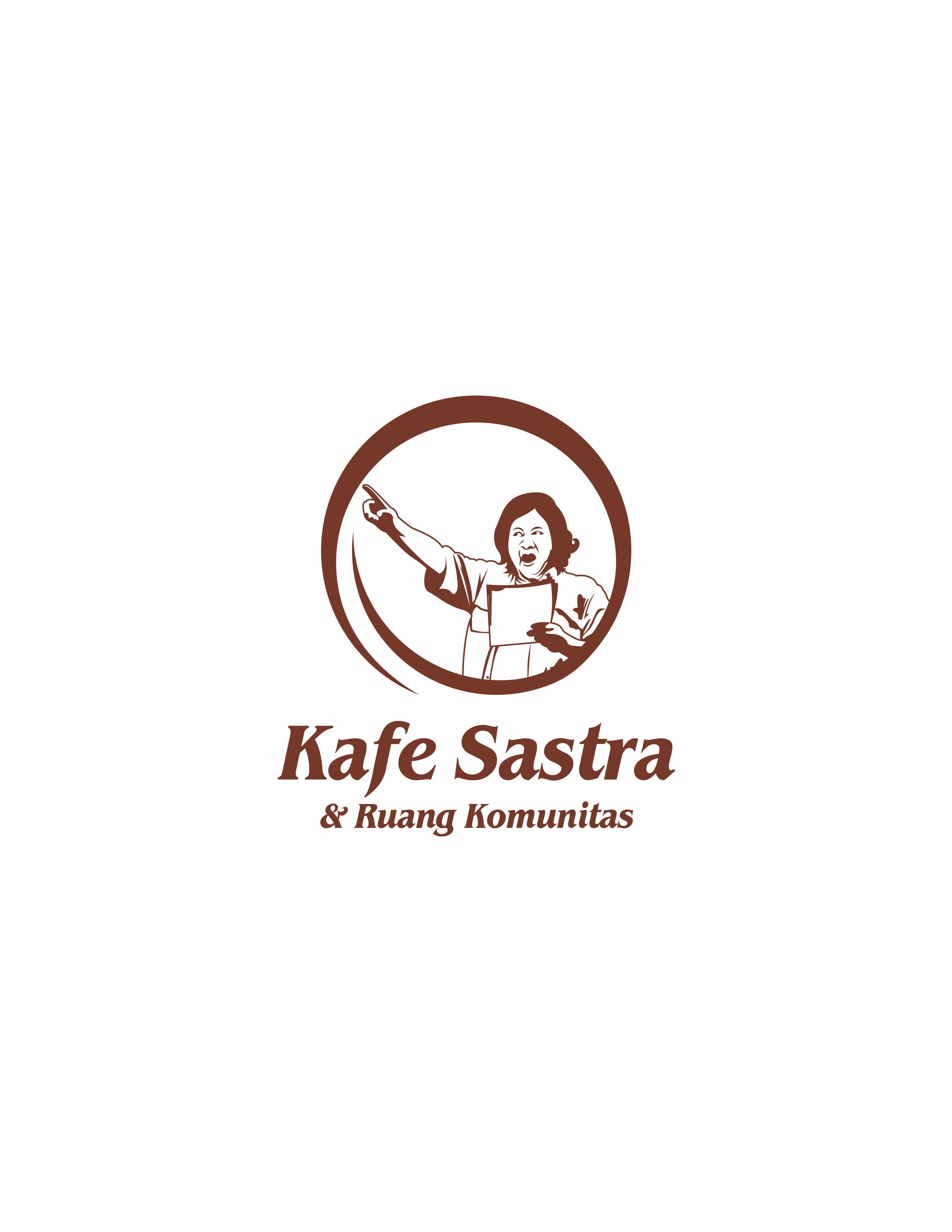 Logo kafe sastra untuk celemek