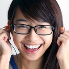 Normal magic pencil earphones goofy asian girl with glasses