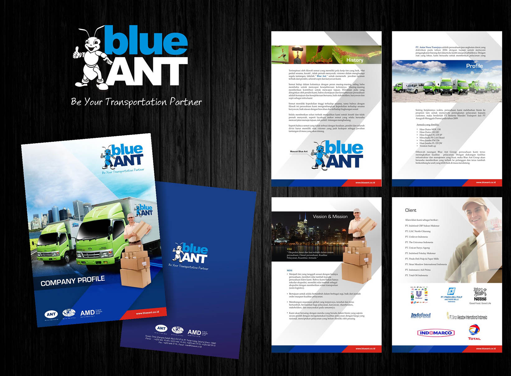 Gallery Company Profile Design For Blue Ant Logistic