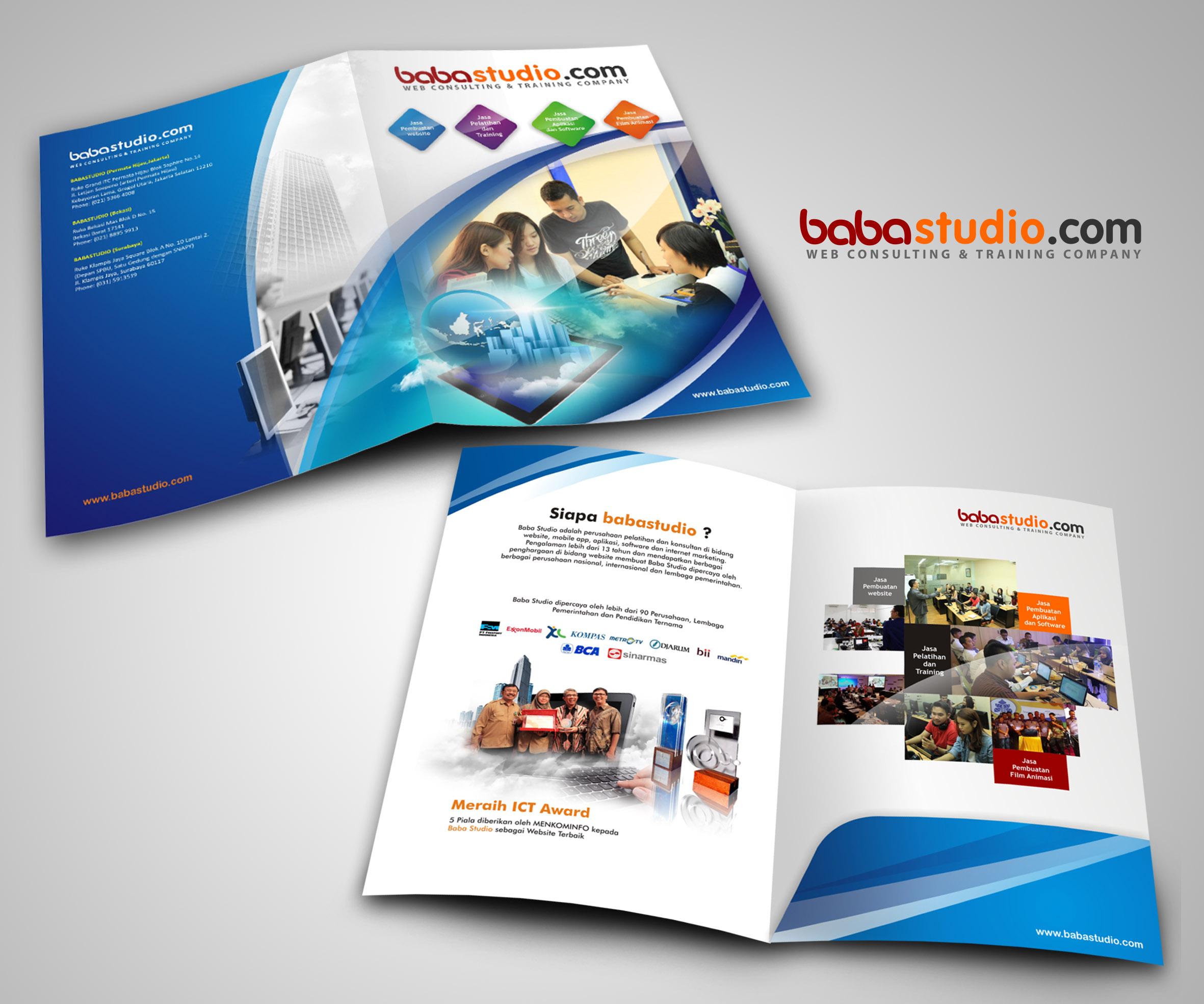 Desain Company Profile Bentuk Map Untuk Baba Studio