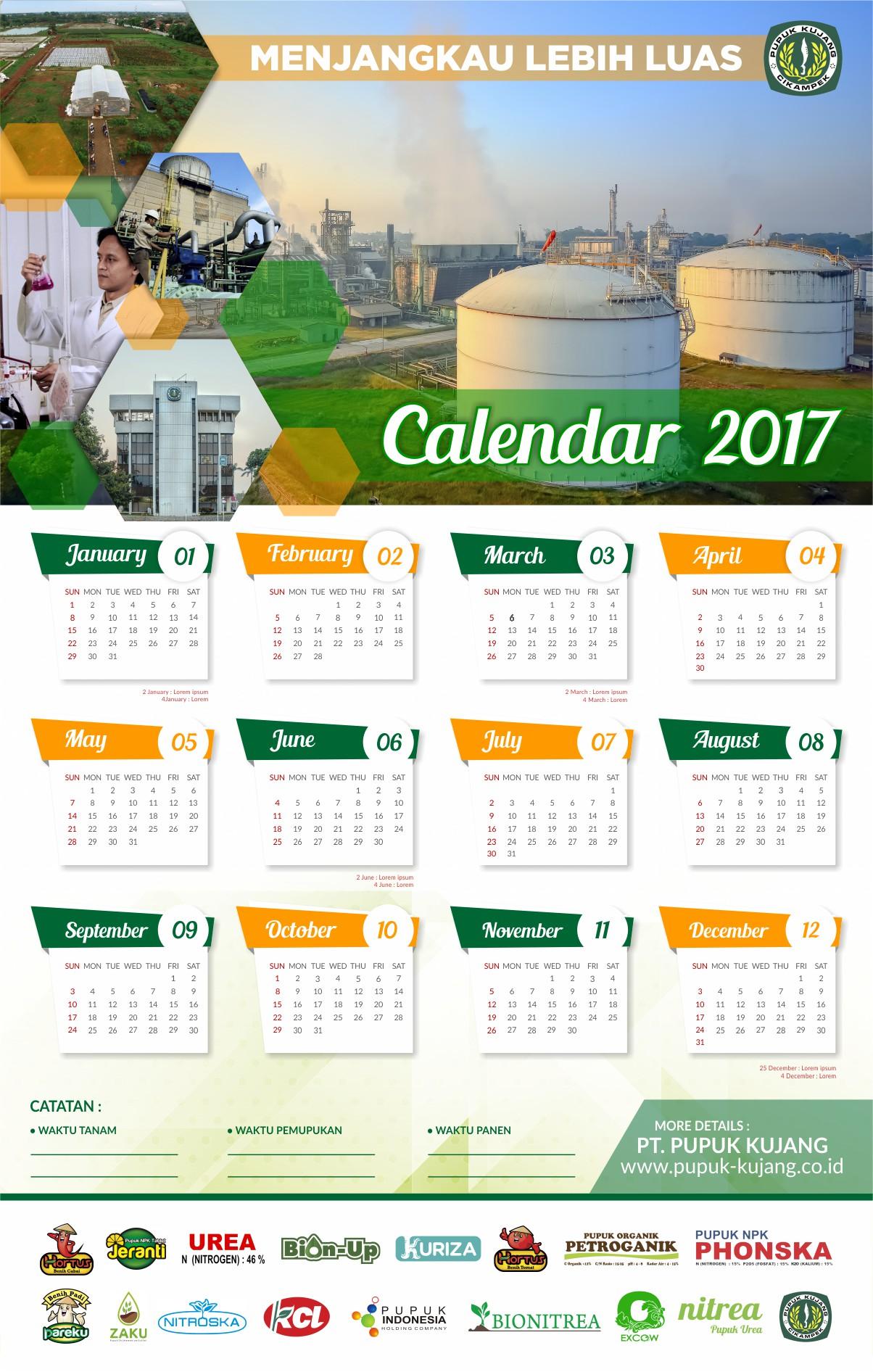 Gallery Desain Kalender 1 Halaman Pupuk Kujang