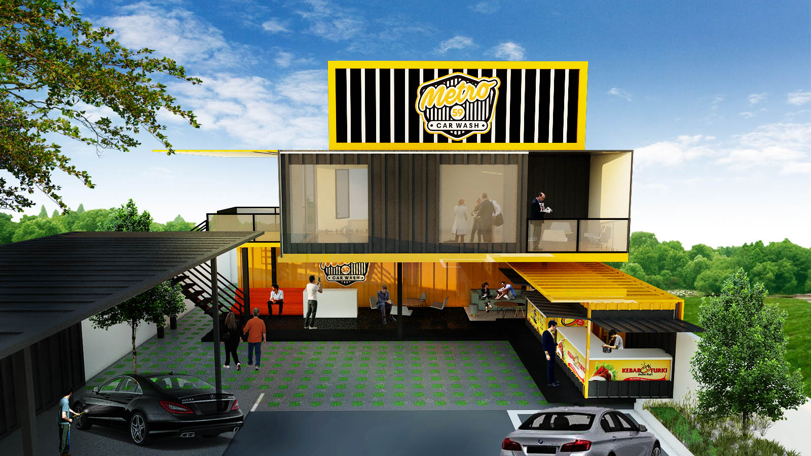 Gallery design exterior untuk metro59 car wash for Exterior car design
