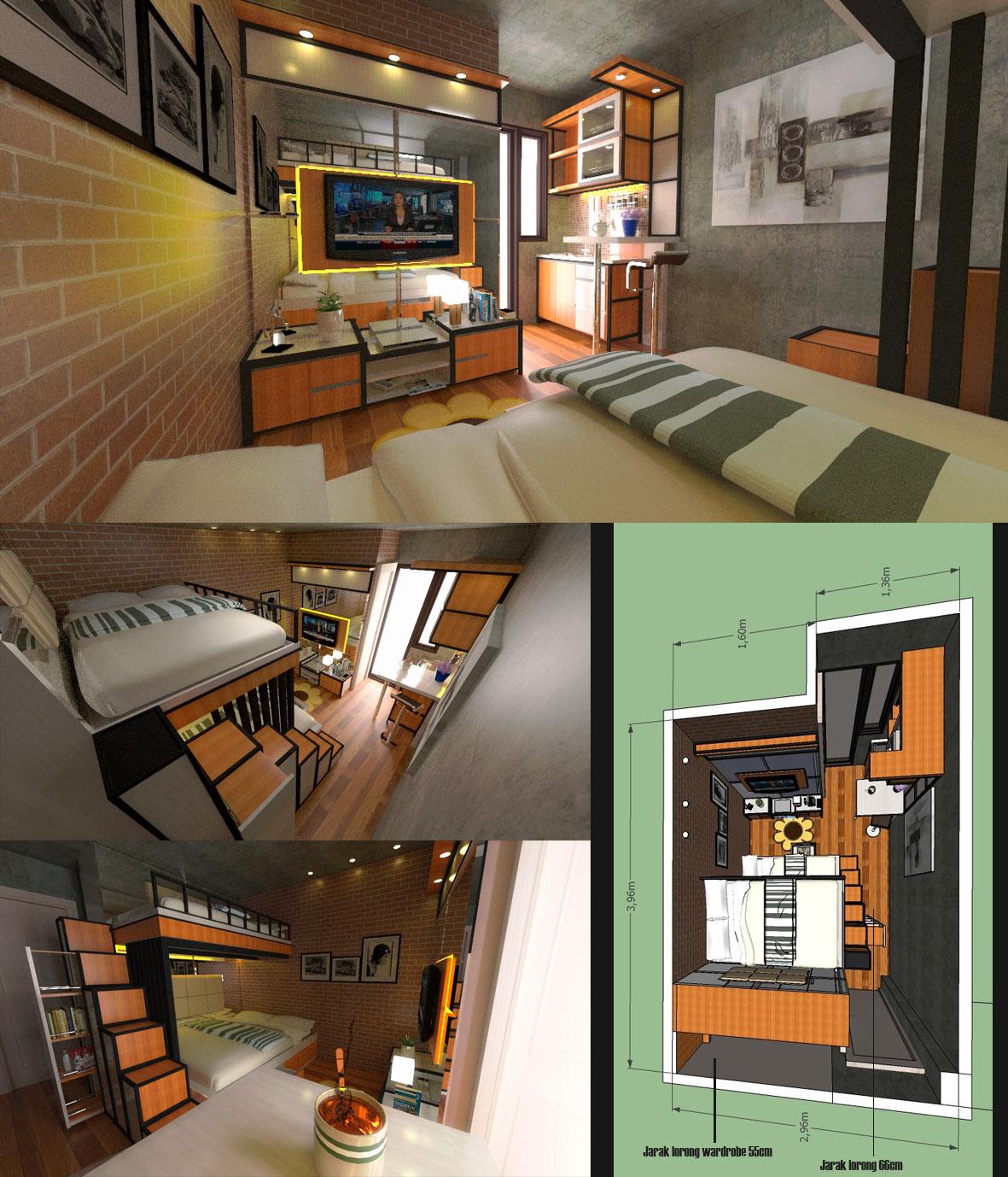 Jasa desain interior apartemen studio for Interior apartemen studio