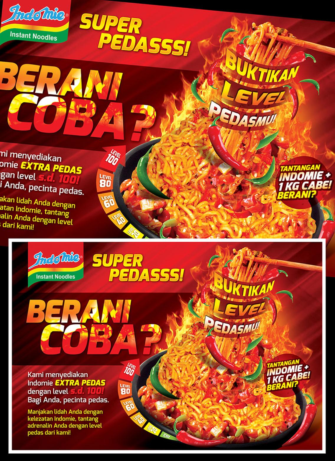 jasa desain poster untuk indomie super pedas