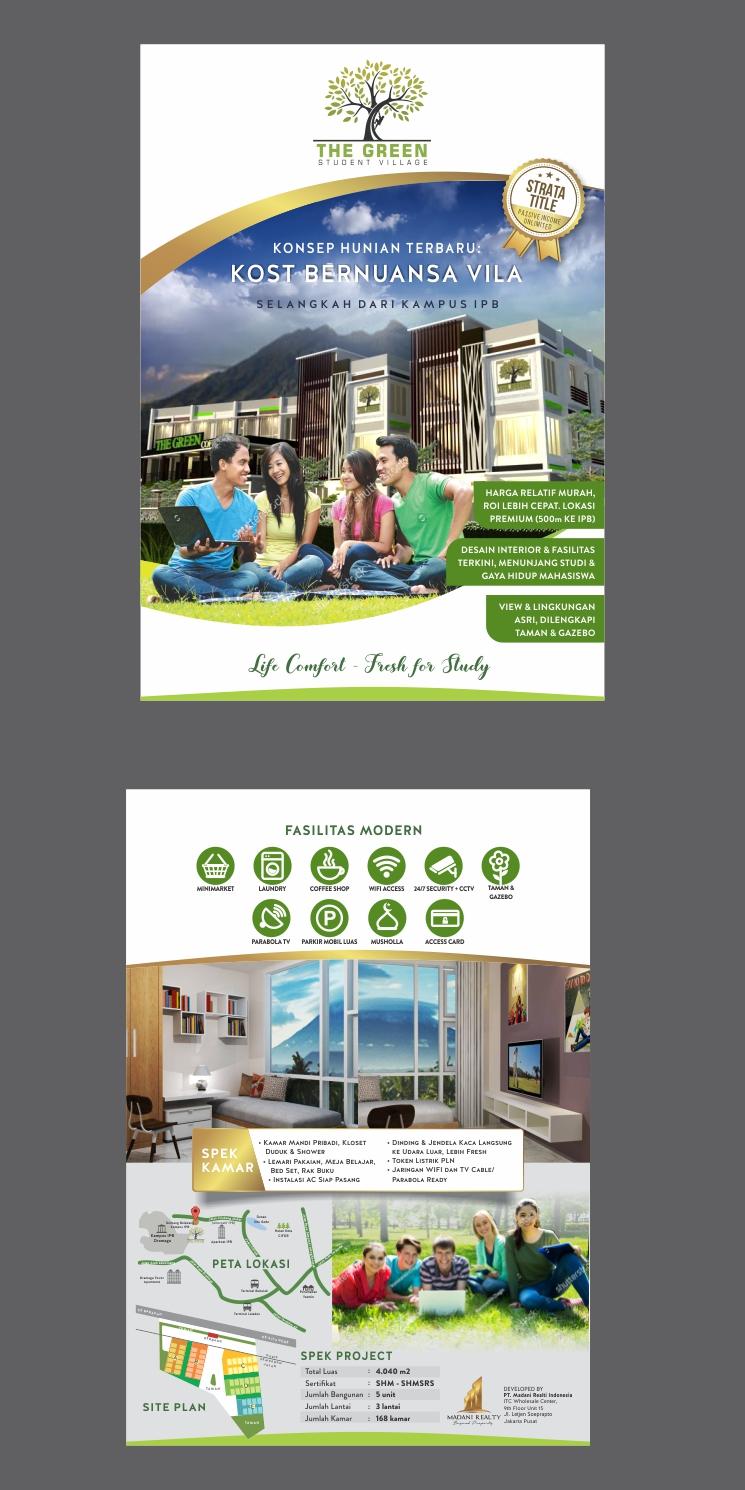 Desain Brosur untuk Rumah Kost Strata Title The Green Student Village