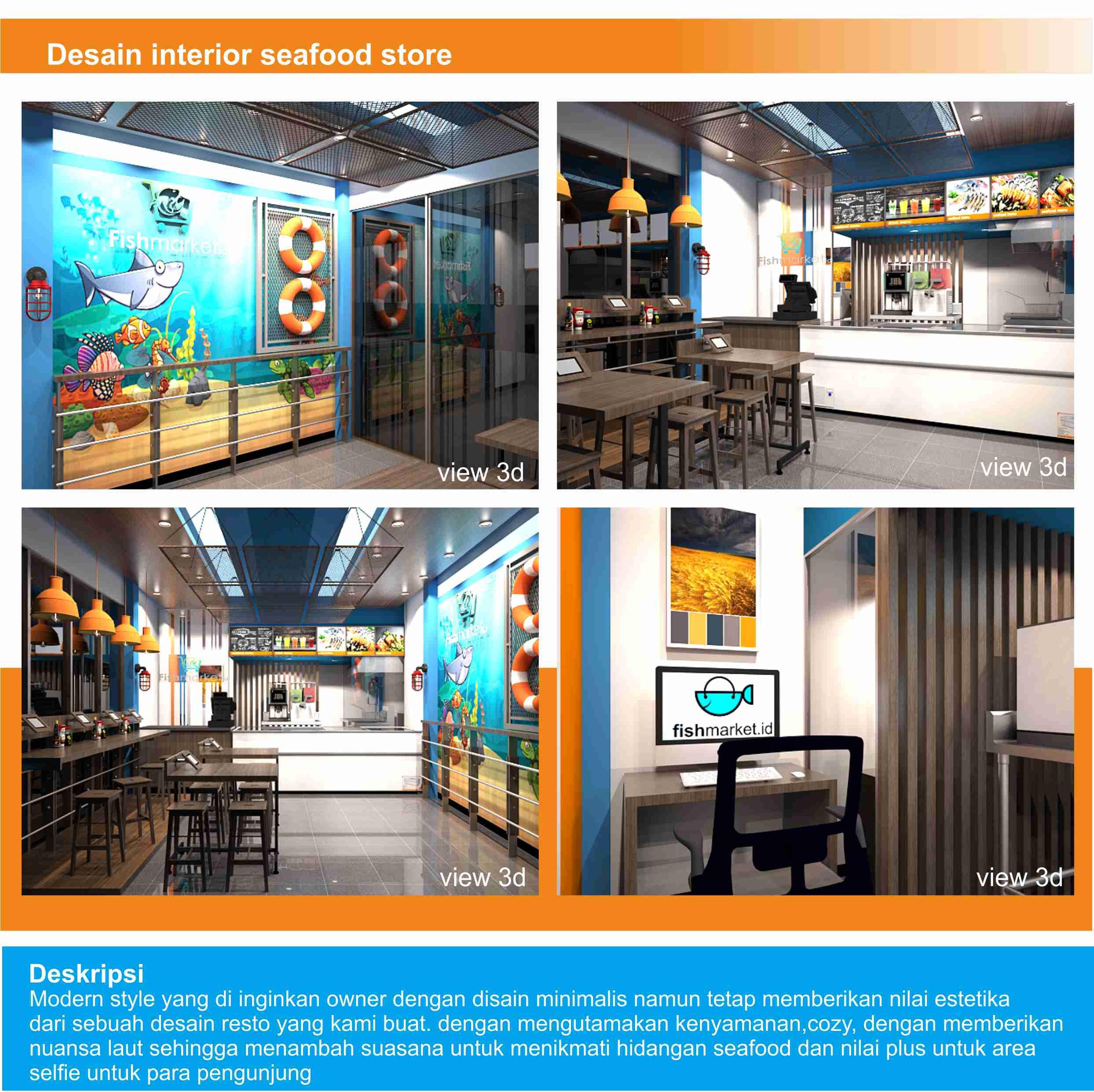 Jasa Desain interior untuk Store Penjualan Seafood
