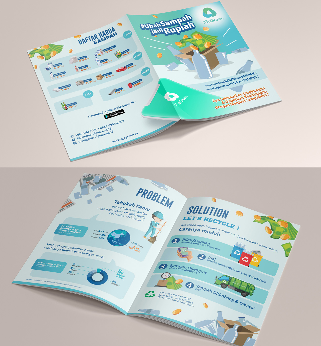 Brochure Design for Indonesia's Online Waste Purchase Application