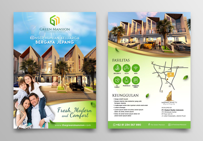 Desain Brosur Perumahan The Green Mansion