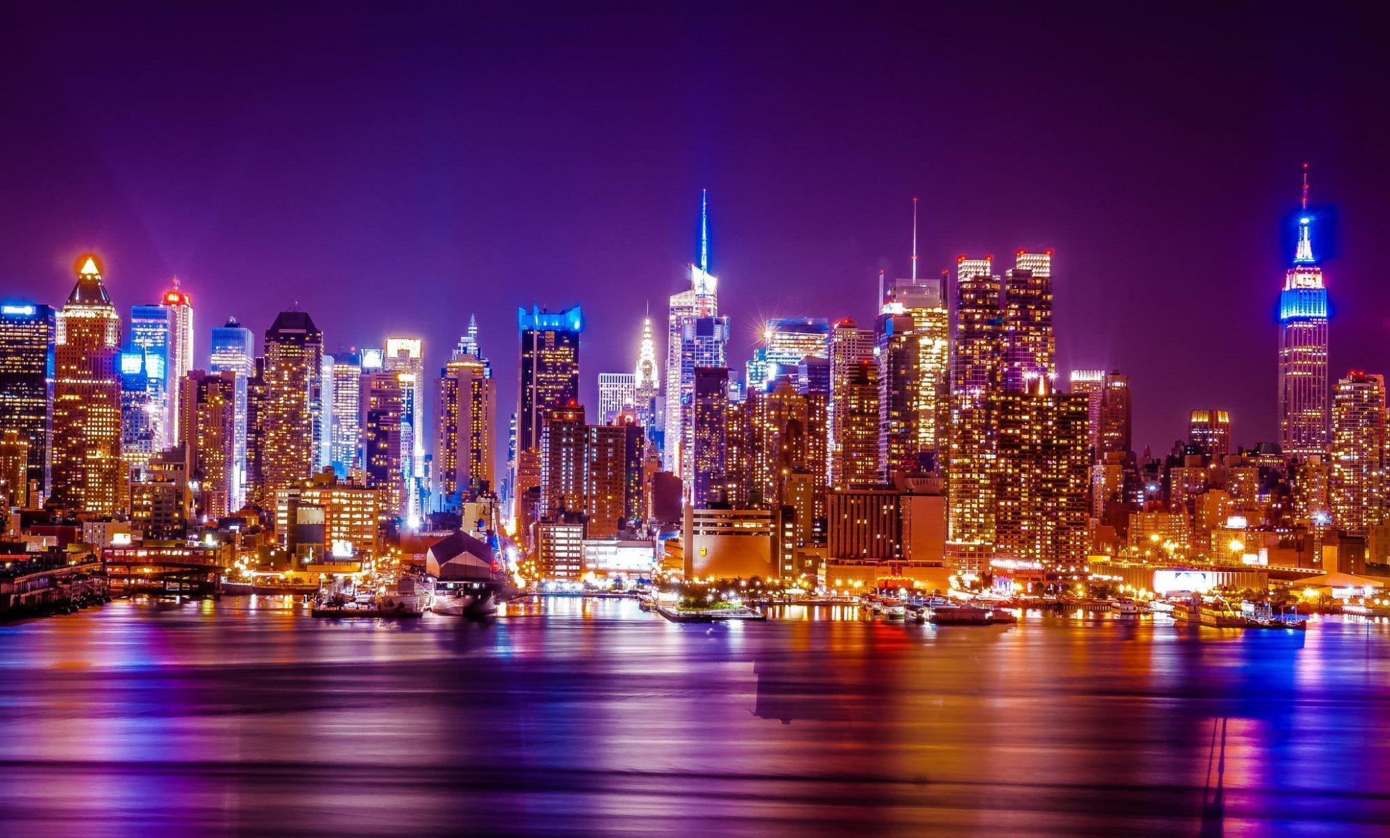 Hudson river ny new york city wtc city skyline skyline night town panorama skyscraper lights