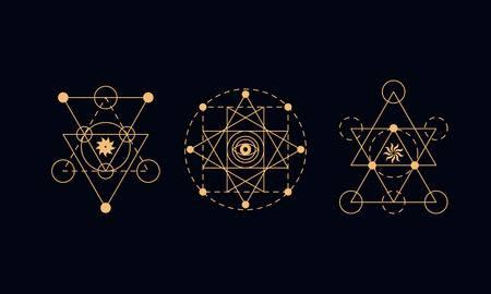 64143363 sacred geometry symbols set alchemy illustration