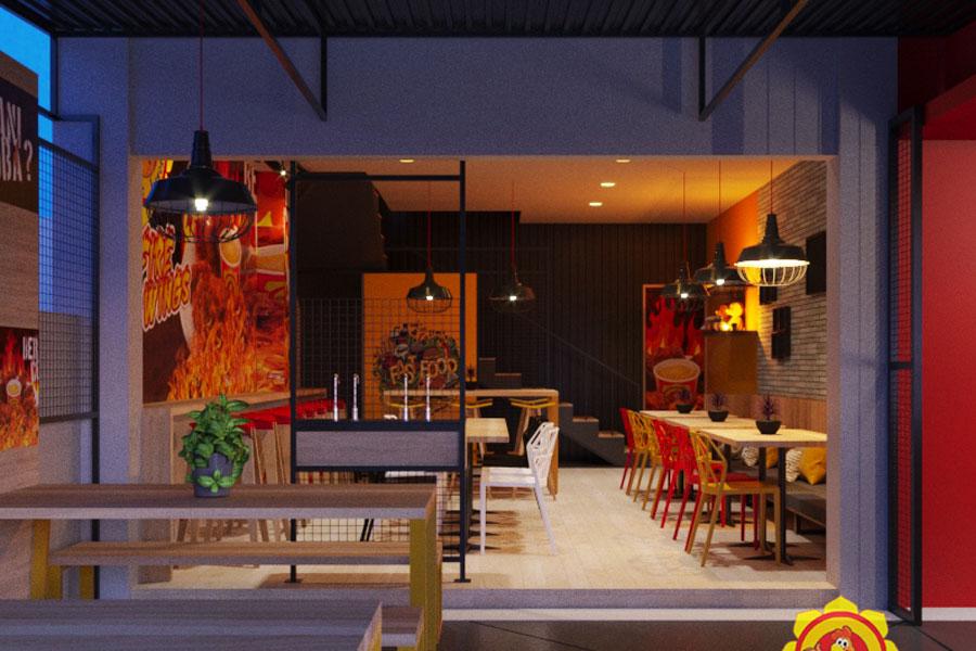 Desain Interior Rumah Makan Fried Chicken