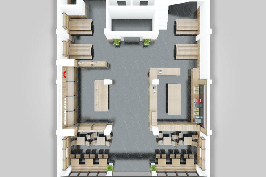 Desain Interior Rumah Makan Otak-Otak Ase