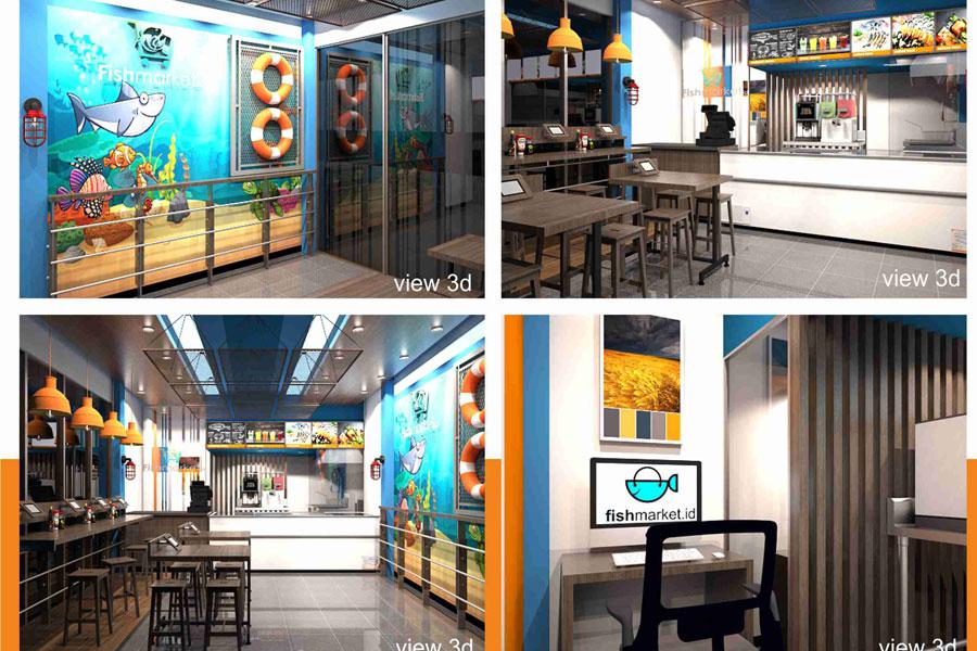 Desain interior untuk Store Penjualan Seafood