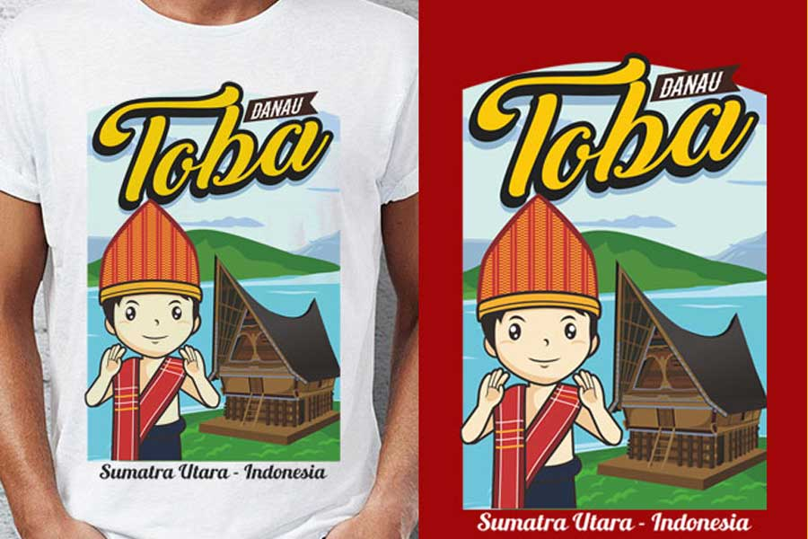 Design of Nusantara-themed Distro T-Shirt