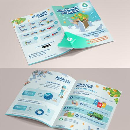 Desain Brosur untuk Aplikasi Jual-Beli Sampah Online Indonesia
